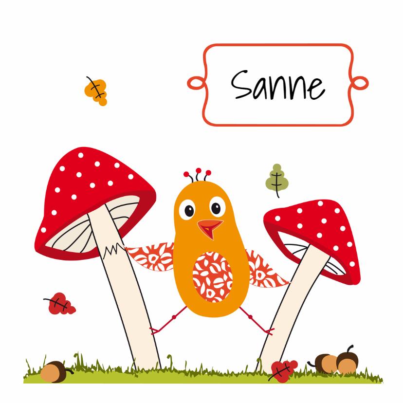 Geboortekaartjes - Geboortekaart paddenstoel meisje