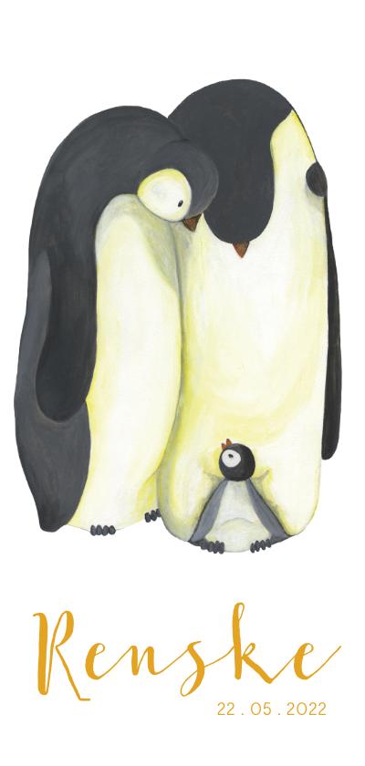 Geboortekaartjes - Geboortekaart pinguïn familie illustratie