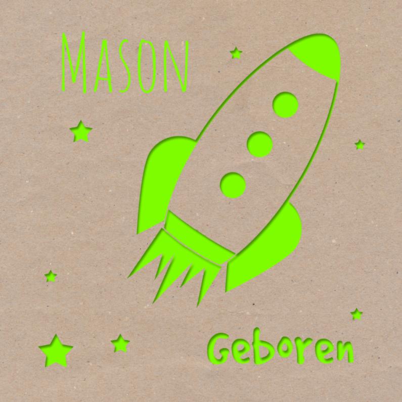 Geboortekaartjes - Geboortekaart raket groen