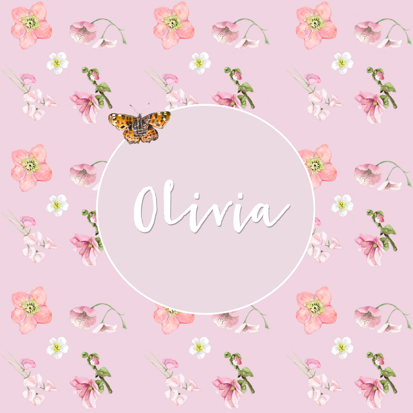 Geboortekaartjes - Geboortekaart  Roze bloemen vlinder