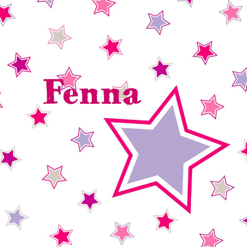 Geboortekaartjes - Geboortekaart Roze en paarse sterren