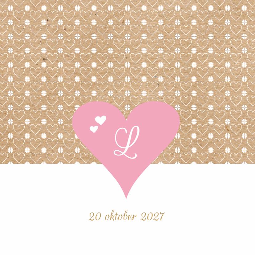 Geboortekaartjes - Geboortekaart roze hart