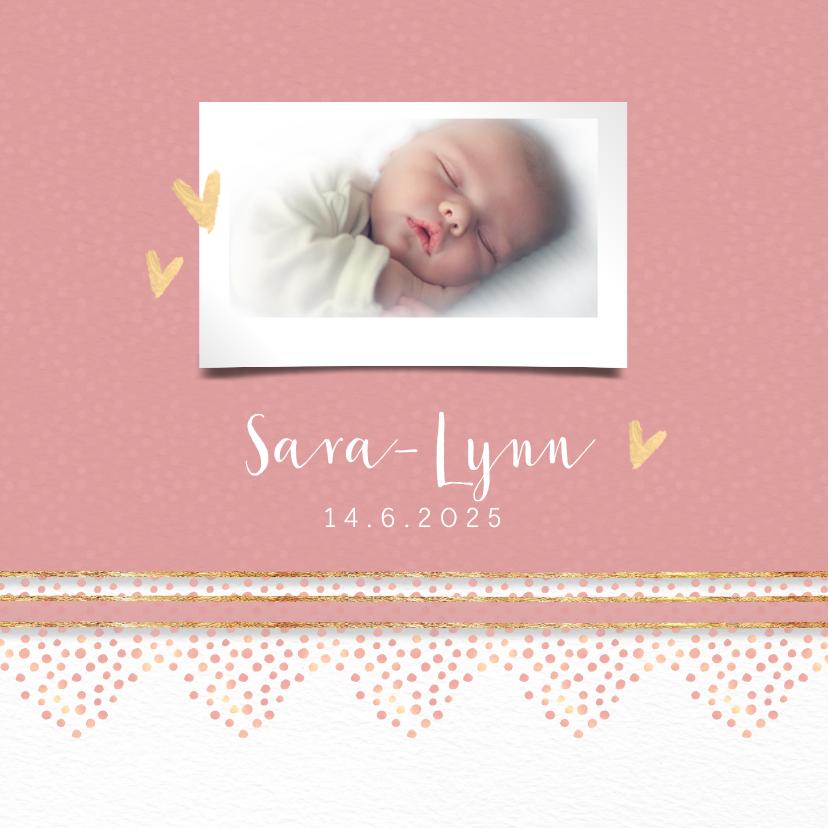 Geboortekaartjes - Geboortekaart roze met rand dierenprint