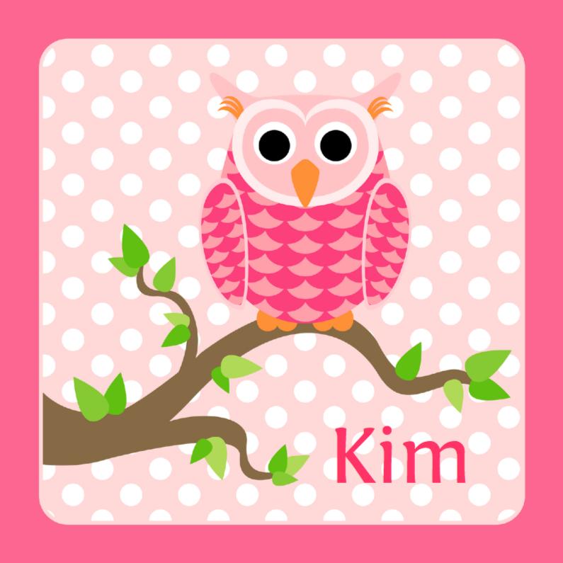 Geboortekaartjes - Geboortekaart Roze uiltje met stippen