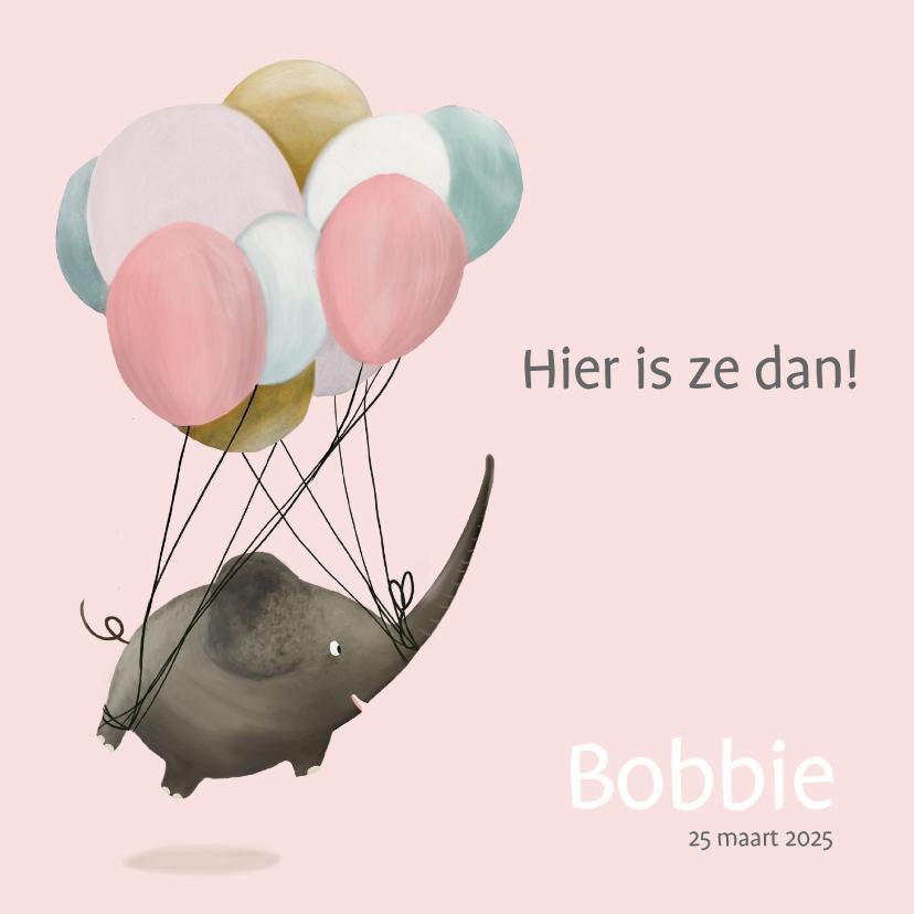 Geboortekaartjes - Geboortekaart schattige olifant met ballon
