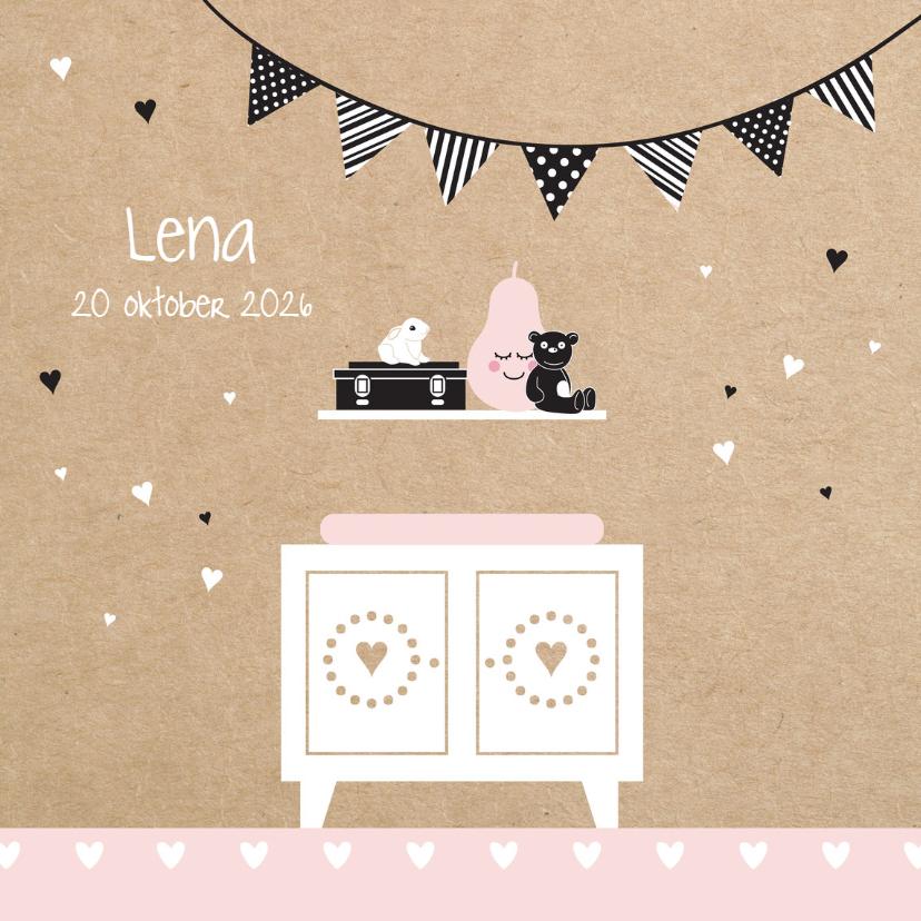 Geboortekaartjes - Geboortekaart silhouette commode