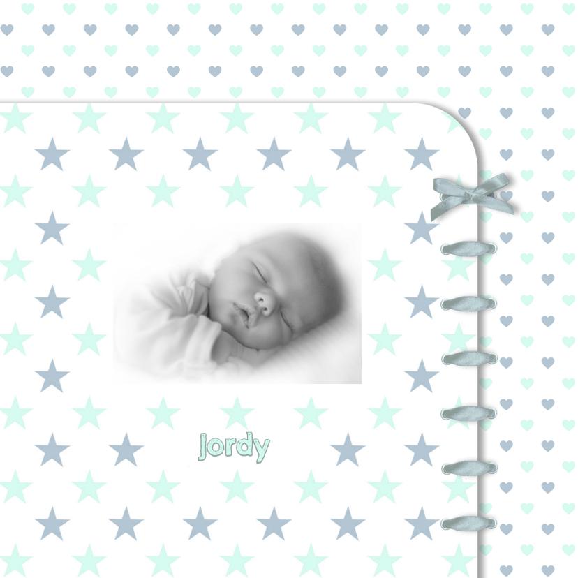 Geboortekaartjes - Geboortekaart ster-hart blauw