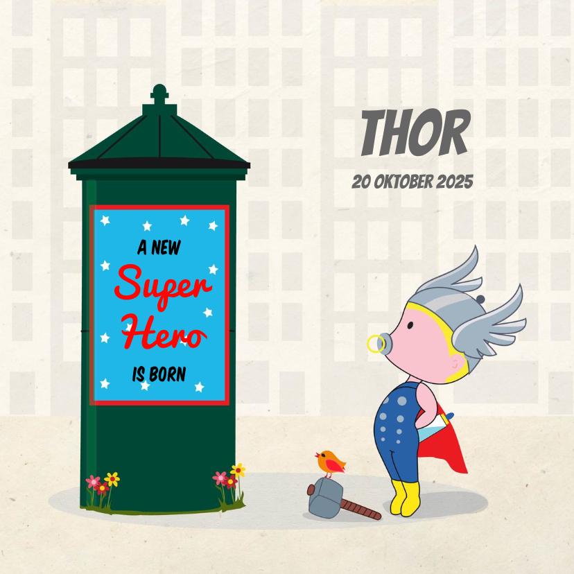 Geboortekaartjes - Geboortekaart superheld boy