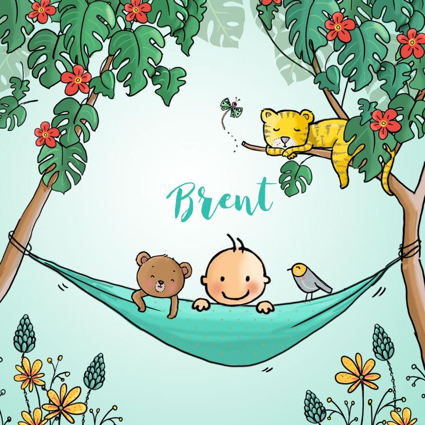 Geboortekaartjes - Geboortekaart tropical jongen