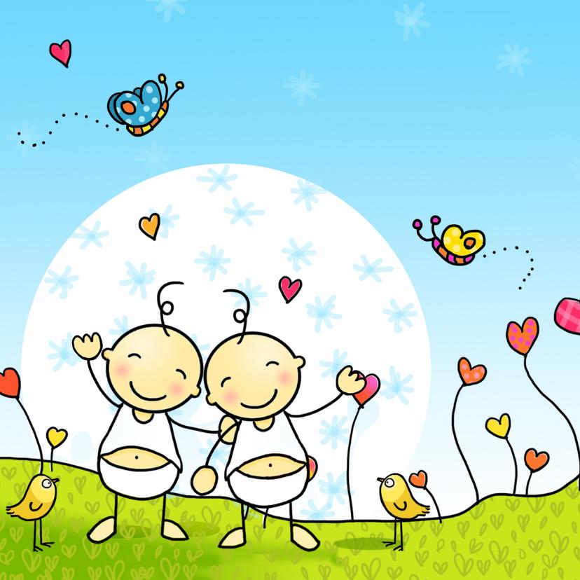 Geboortekaartjes - Geboortekaart tweeling Anet Illustraties