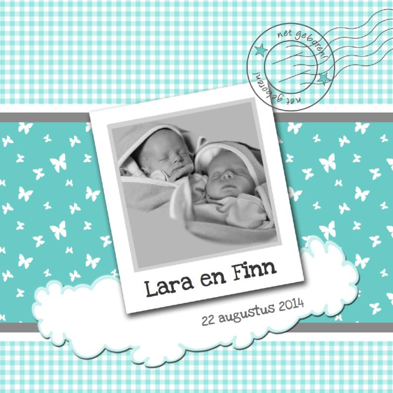 Geboortekaartjes - Geboortekaart tweeling poststempel