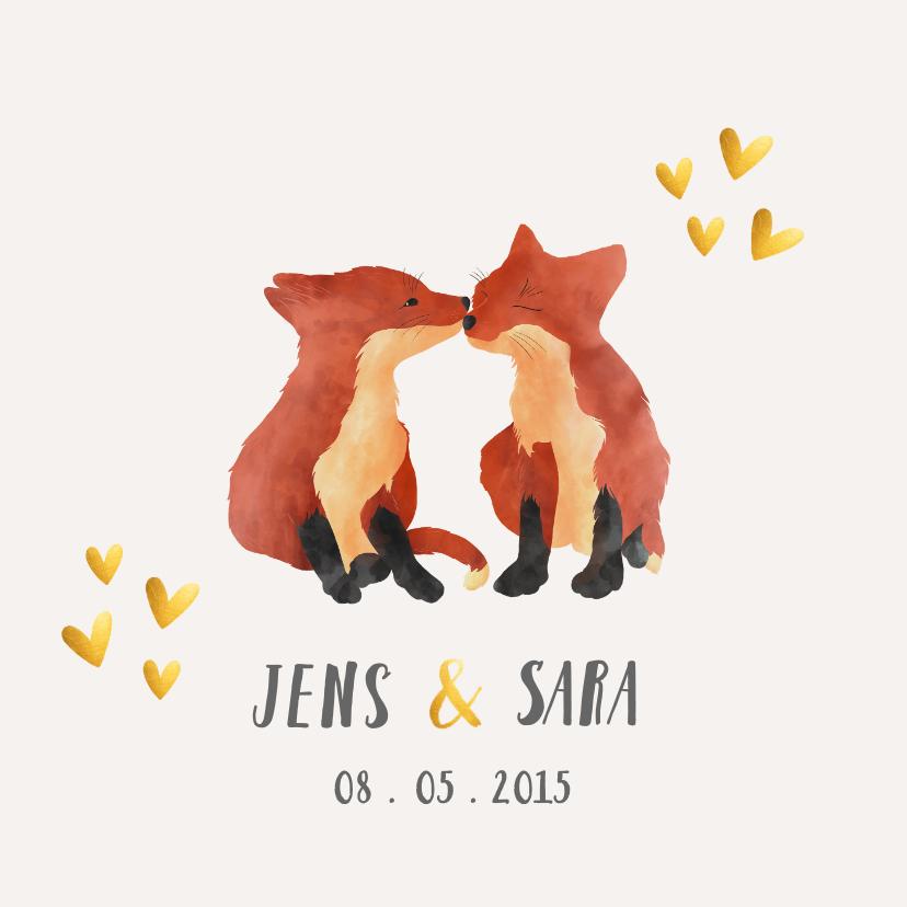 Geboortekaartjes - Geboortekaart tweeling vosjes dieren gouden hartjes