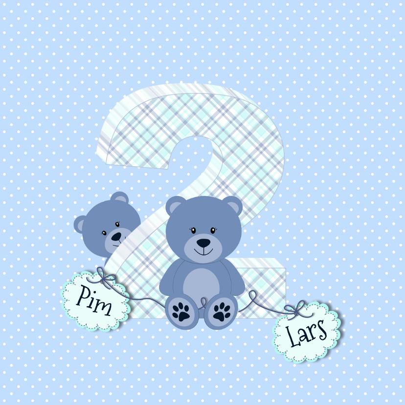 Geboortekaartjes - Geboortekaart tweelingbeer blauw