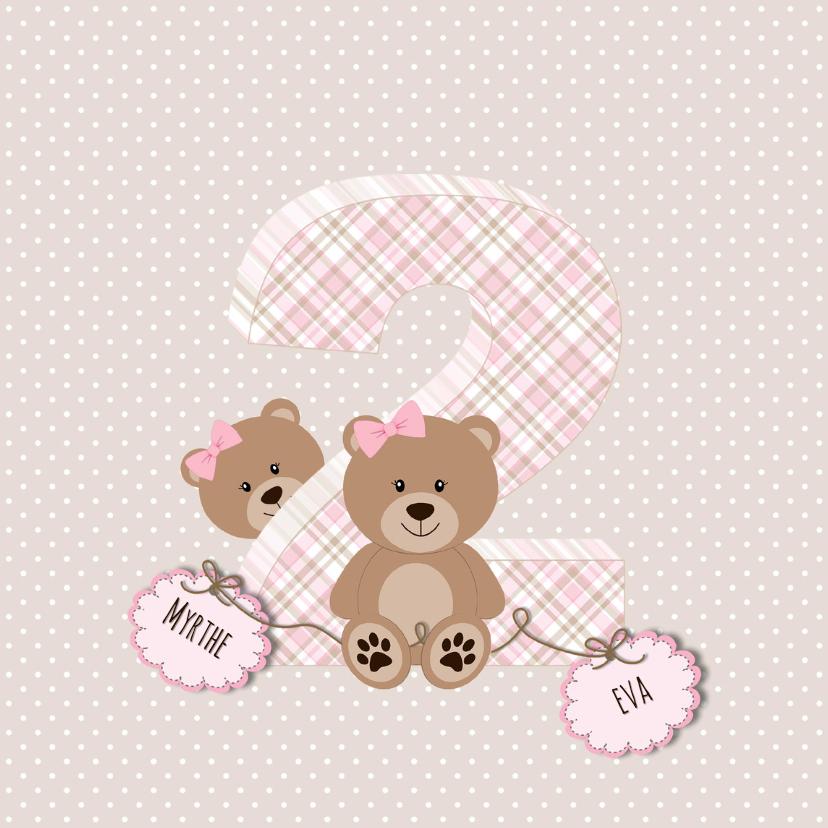 Geboortekaartjes - Geboortekaart tweelingberen roze