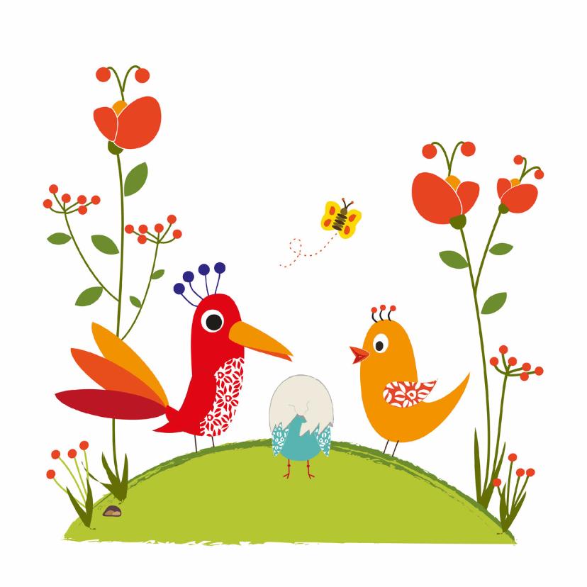 Geboortekaartjes - Geboortekaart verstopt onder ei