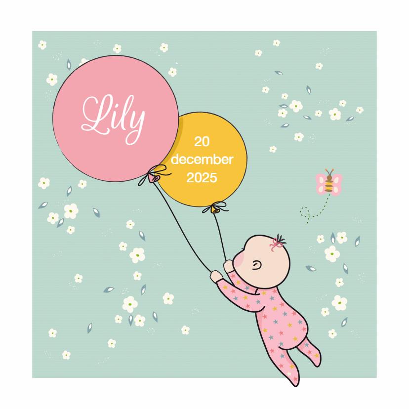 Geboortekaartjes - geboortekaart vlieg met ballon
