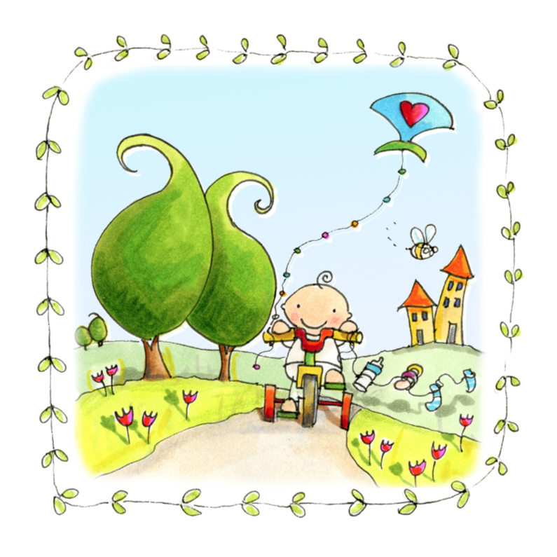 Geboortekaartjes - Geboortekaart vlieger Anet Illustraties