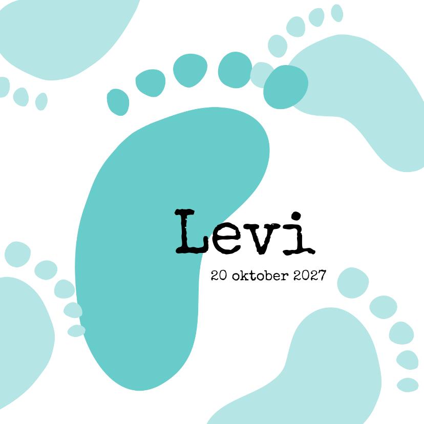 Geboortekaartjes - Geboortekaart voetafdrukjes blauw/groen