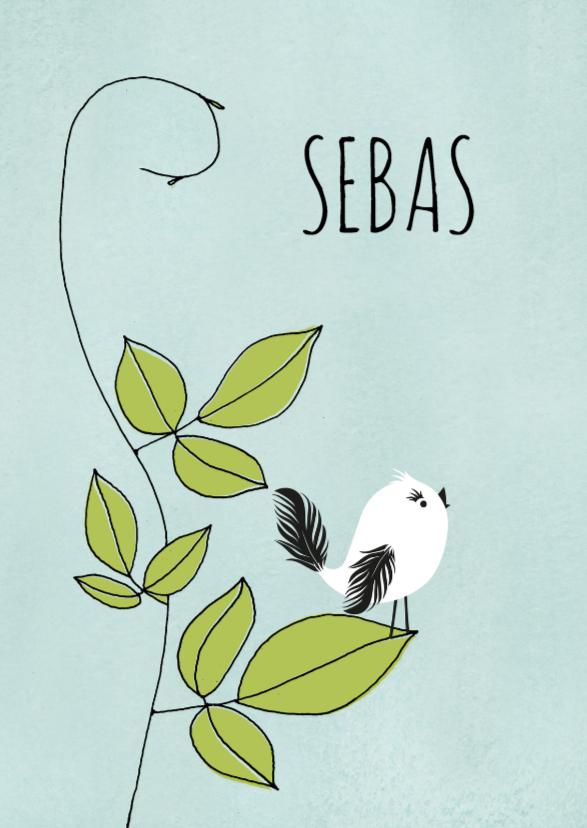 Geboortekaartjes - Geboortekaart Vogel op tak