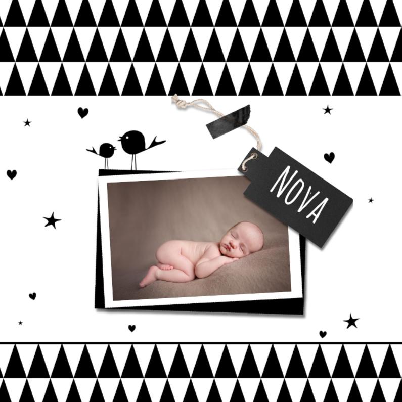 Geboortekaartjes - Geboortekaart vogel zwart wit