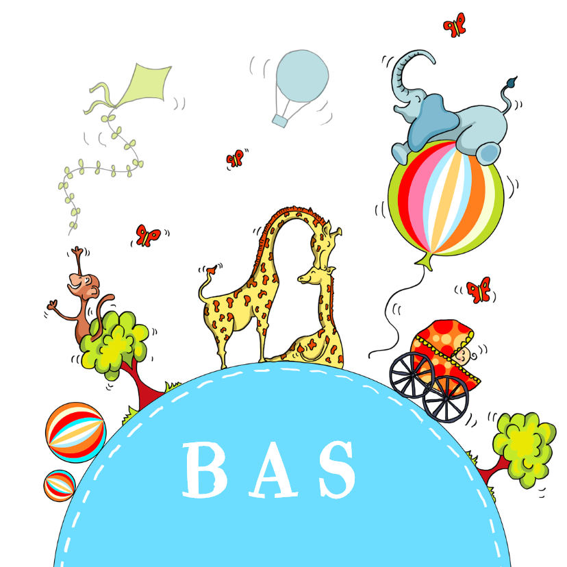 Geboortekaartjes - Geboortekaart vrolijke bol Jongen
