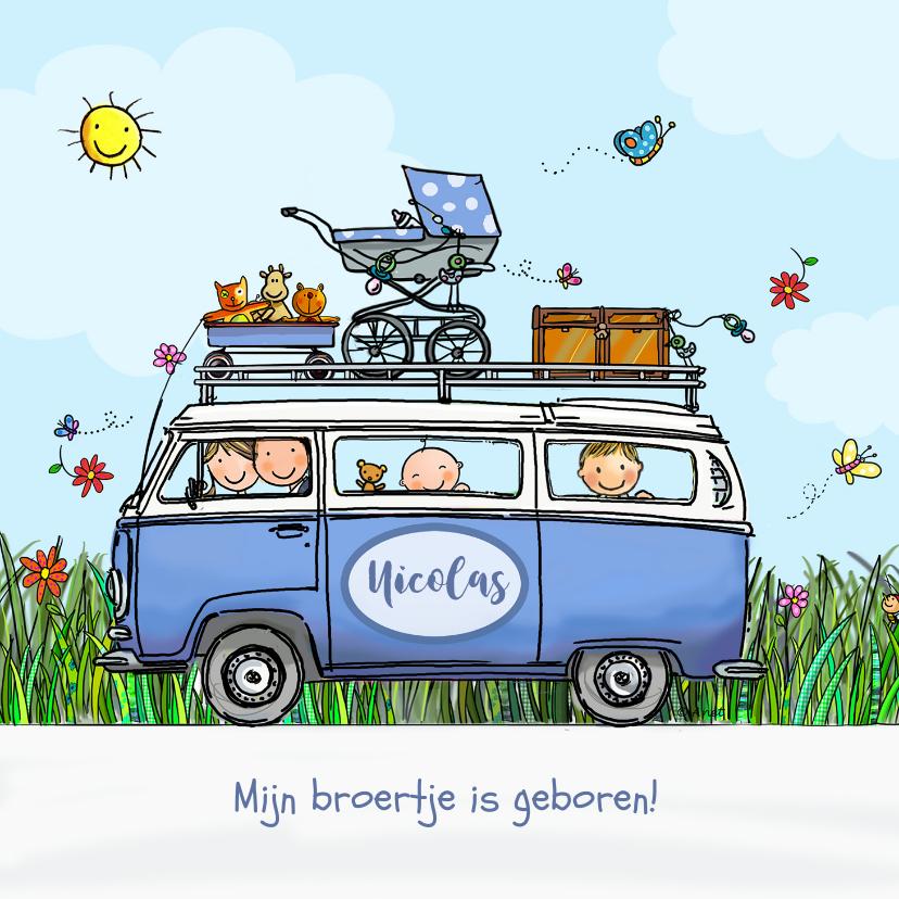 Geboortekaartjes - Geboortekaart VW blauw met broertjes