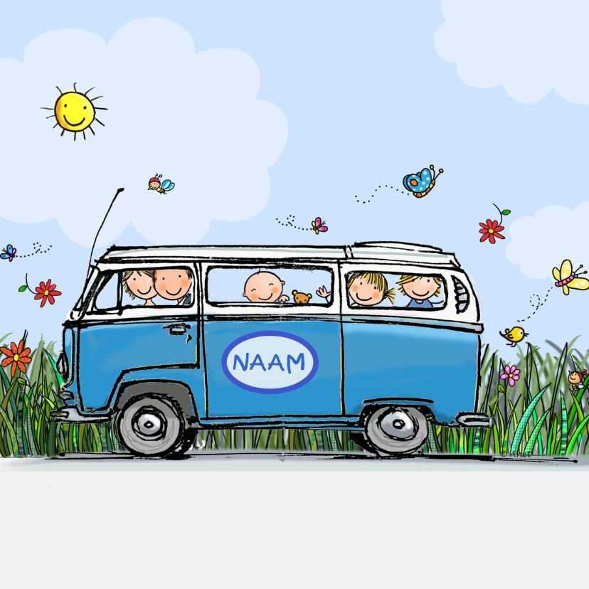 Geboortekaartjes - Geboortekaart VW bus blauw kinderen