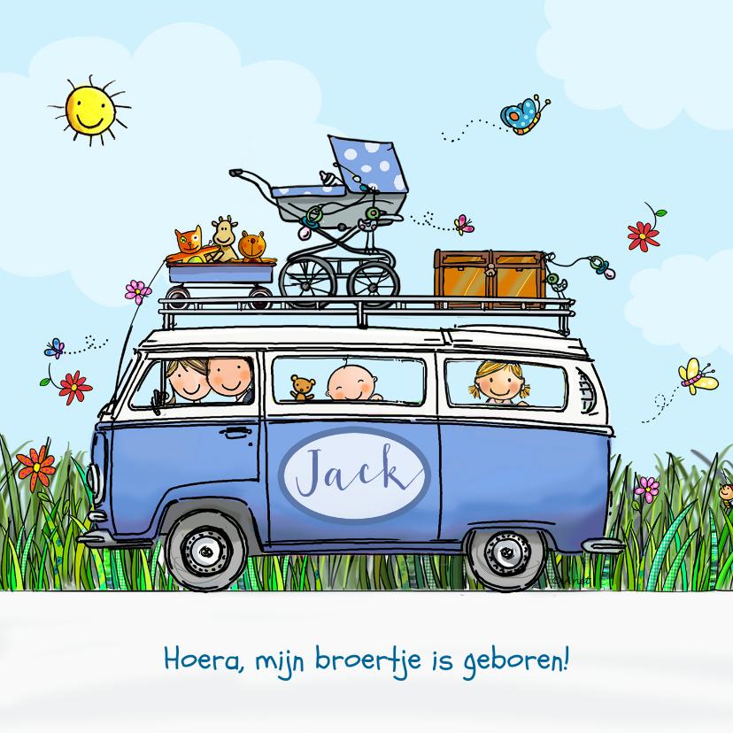 Geboortekaartjes - Geboortekaart VW bus blauw baby jongen met zusje
