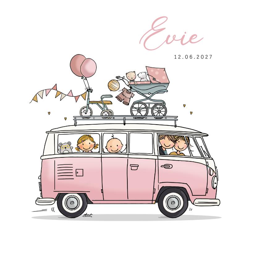 Geboortekaartjes - Geboortekaart vw busje roze met zusje