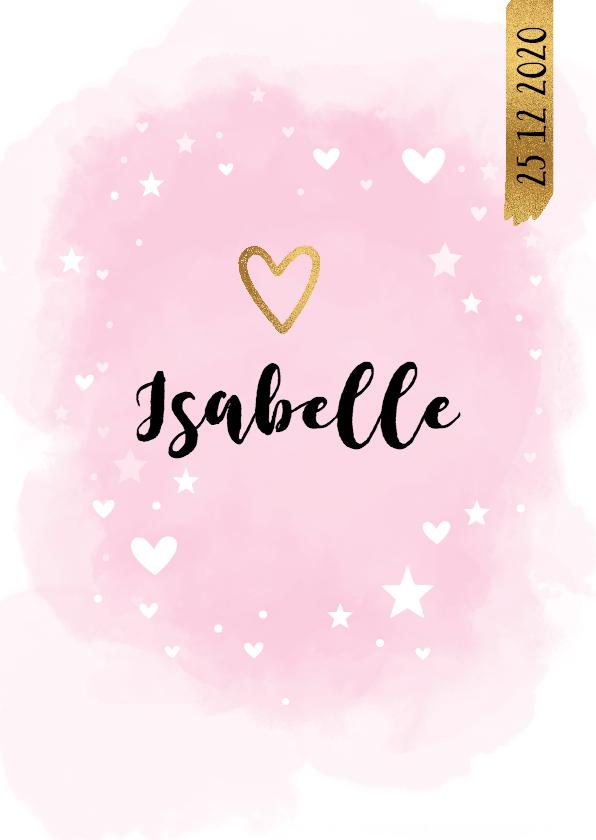 Geboortekaartjes - Geboortekaart waterverf kies je eigen kleur roze