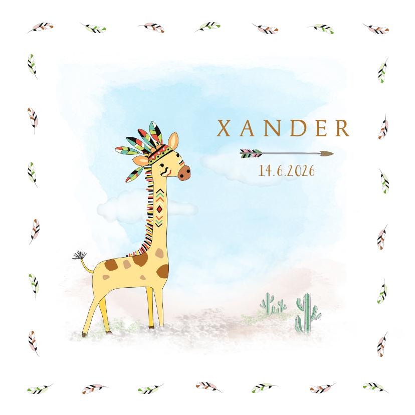 Geboortekaartjes - Geboortekaart wigwam, giraffe met tooi