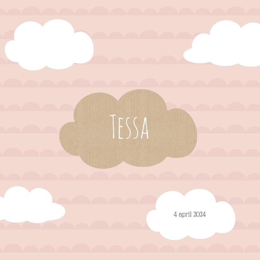 Geboortekaartjes - Geboortekaart wolk roze - BC
