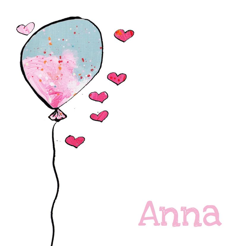 Geboortekaartjes - geboortekaartje 1 ballon meisje
