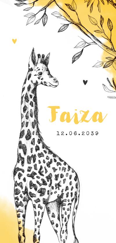 Geboortekaartjes - Geboortekaartje adoptie giraf okergeel afrika