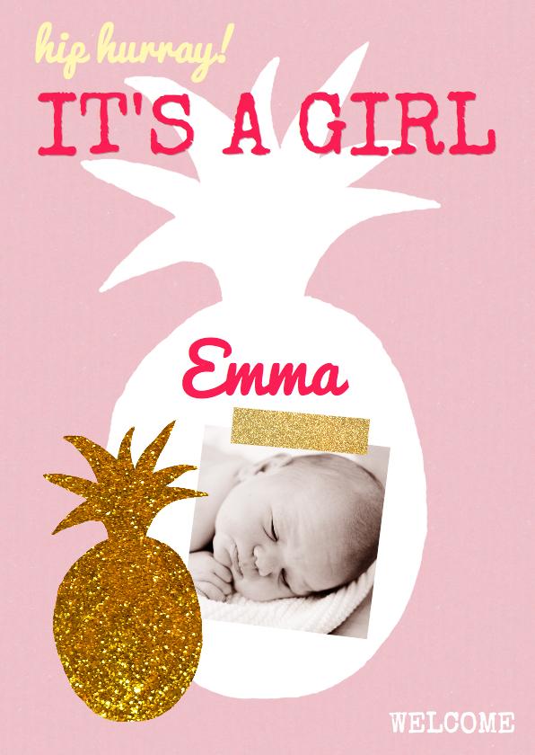Geboortekaartjes - Geboortekaartje ananas goud