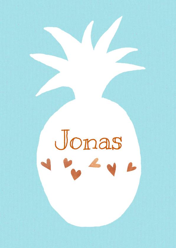 Geboortekaartjes - Geboortekaartje ananas wit blauw