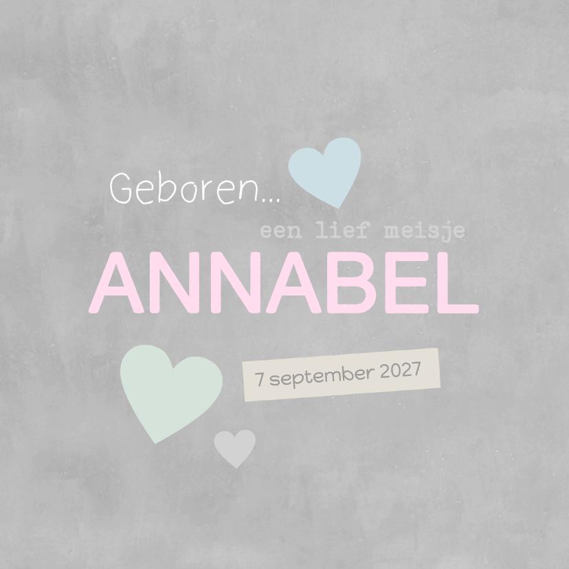 Geboortekaartjes - Geboortekaartje Annabel kalk