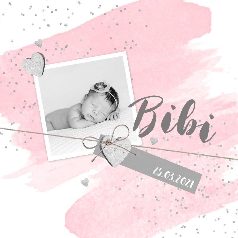 Geboortekaartjes - Geboortekaartje aquarel foto label hartjes roze