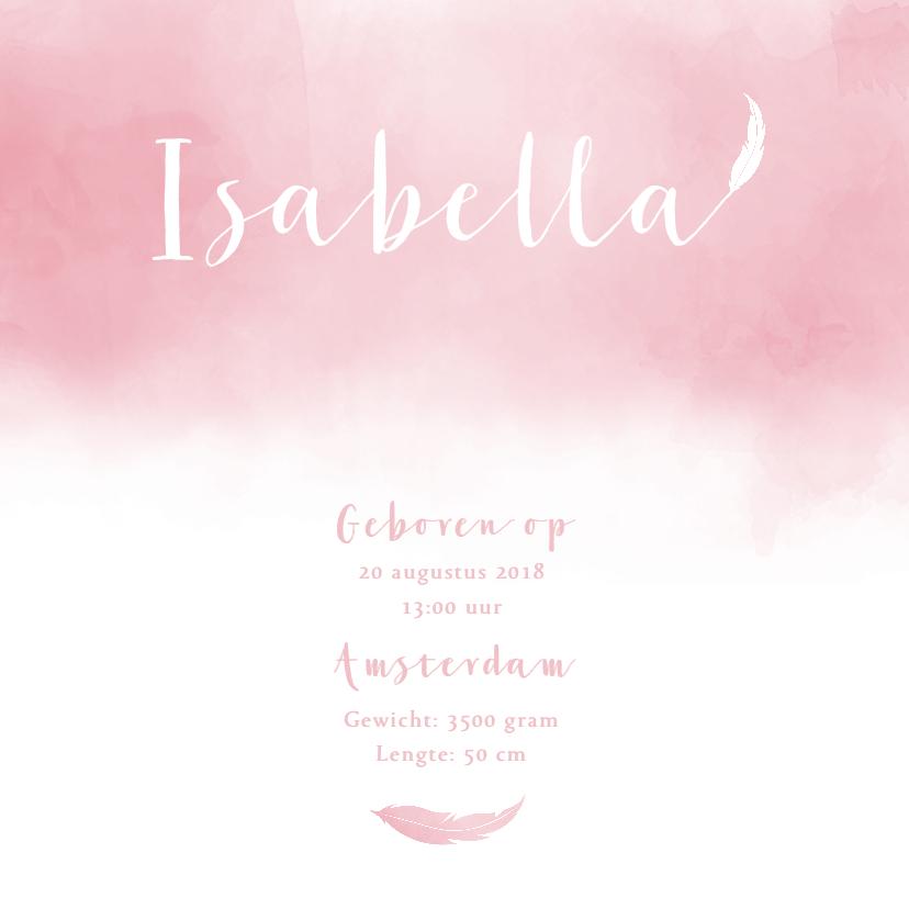 Geboortekaartjes - Geboortekaartje aquarel roze