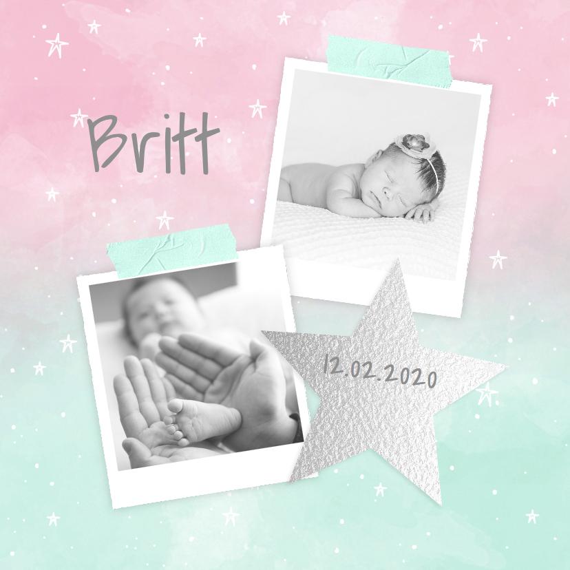 Geboortekaartjes - Geboortekaartje aquarel sterren foto's roze mint