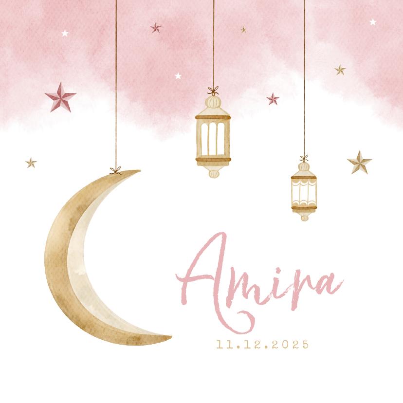 Geboortekaartjes - Geboortekaartje Arabisch meisje maan sterren windlichtjes