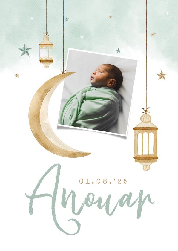 Geboortekaartjes - Geboortekaartje Arabisch windlichtjes maan sterren