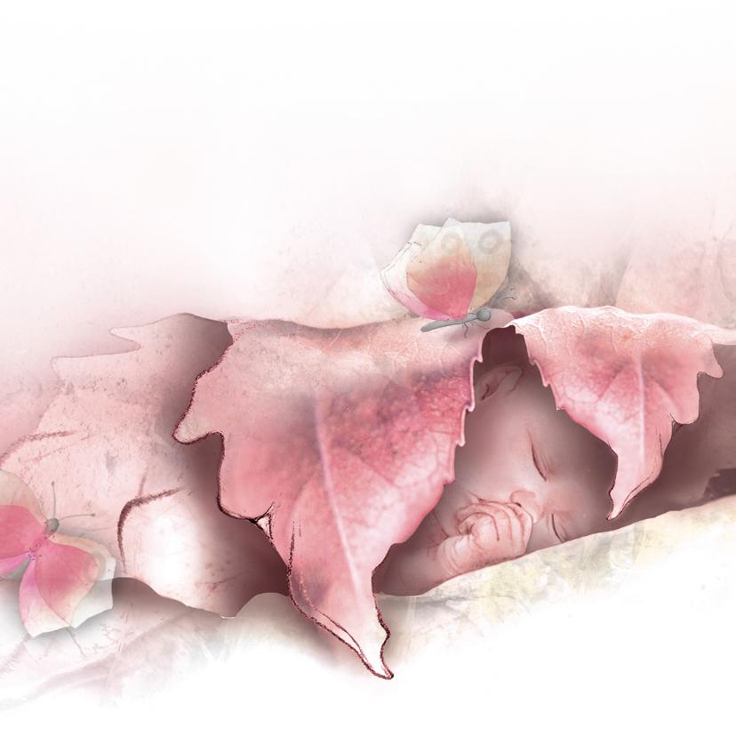 Geboortekaartjes - Geboortekaartje Baby en Vlinders