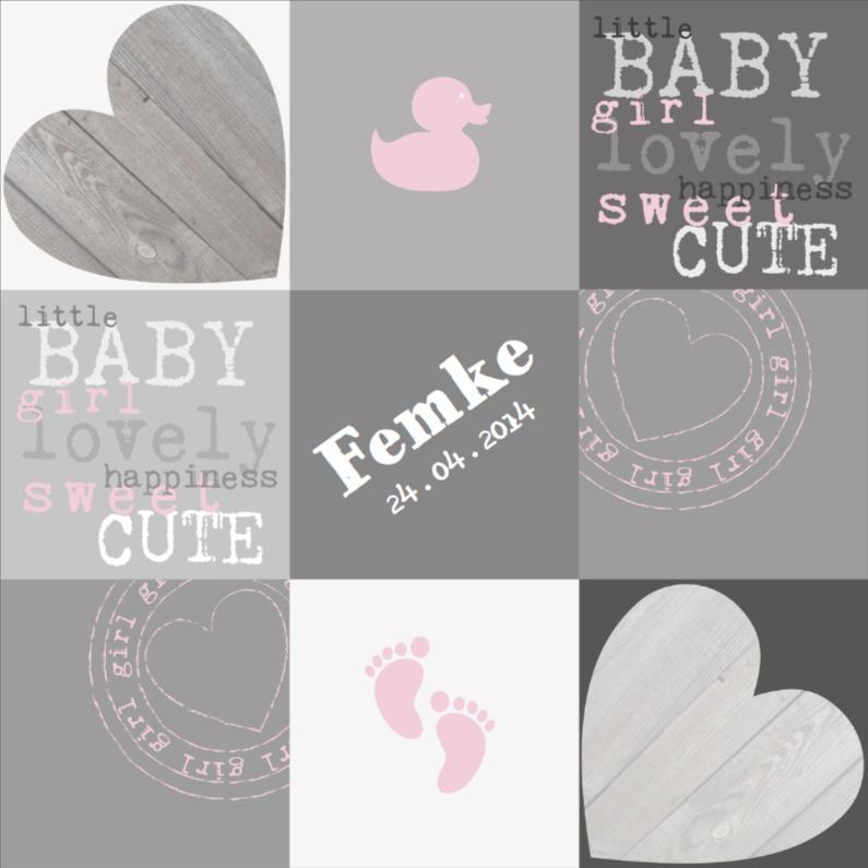 Geboortekaartjes - Geboortekaartje Babygirl Vakjes
