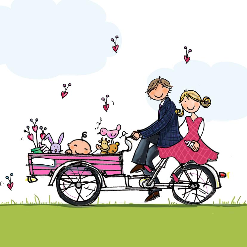 Geboortekaartjes - Geboortekaartje bakfiets Anet roze