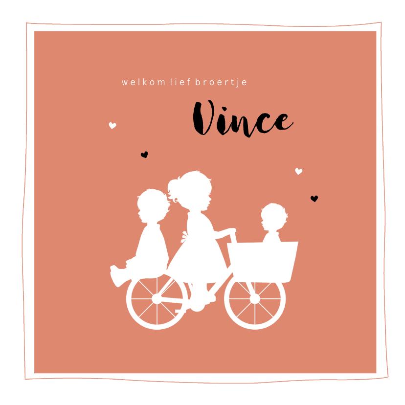 Geboortekaartjes - Geboortekaartje bakfiets zus met broertjes silhouet