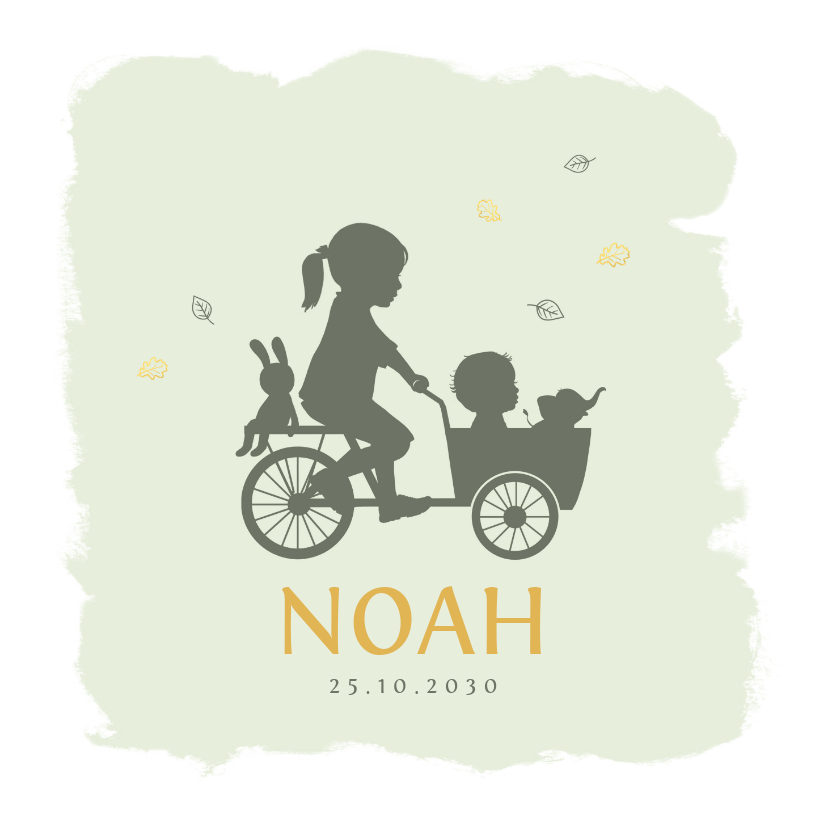 Geboortekaartjes - Geboortekaartje bakfietsje met zusje watercolor
