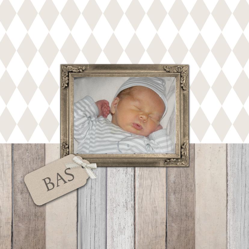 Geboortekaartjes - Geboortekaartje Bas foto hout