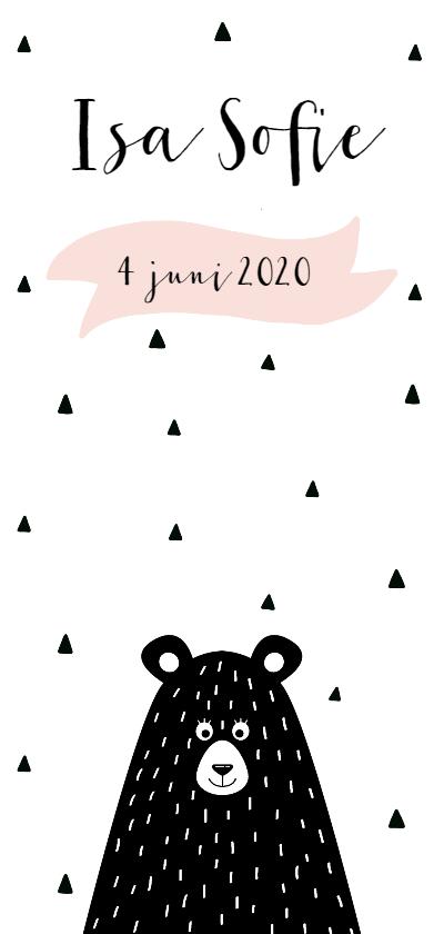Geboortekaartjes - Geboortekaartje beer, aanpasbare achtergrondkleur