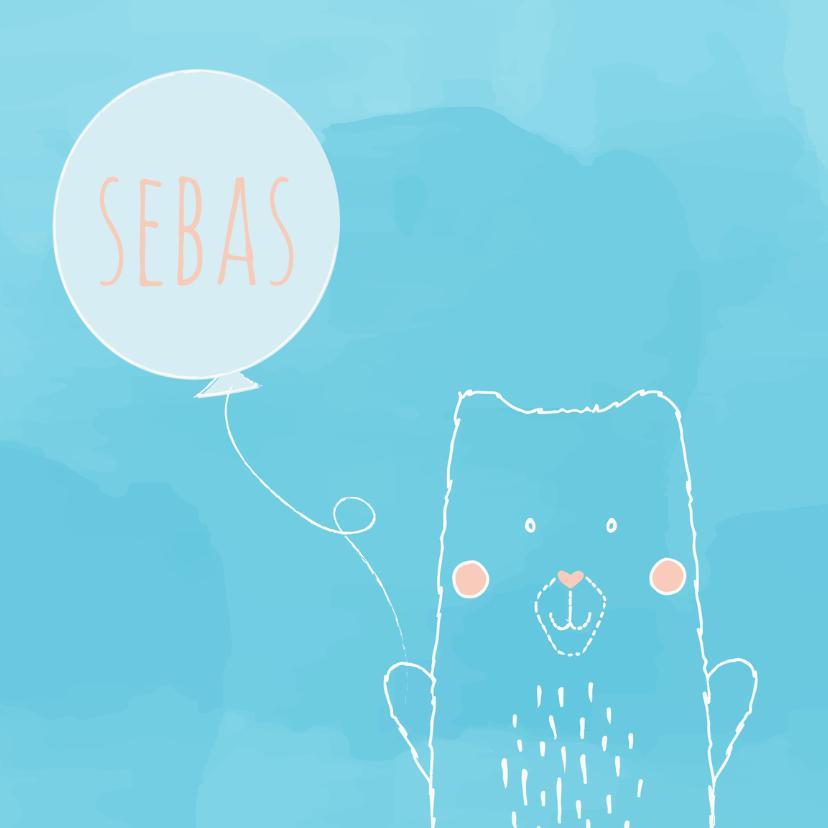 Geboortekaartjes - Geboortekaartje beer met ballon